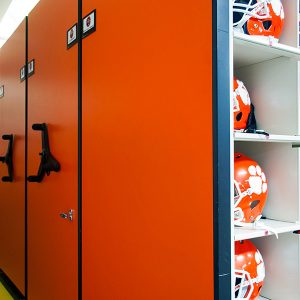 Football Helmets Stored on High-Density Shelving
