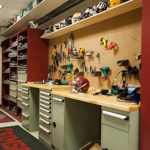 Work Bench and Storage for Athletic Equipment