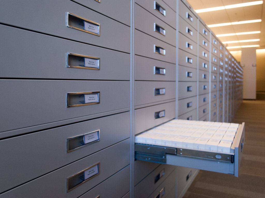 Shelving with drawers at Emory University