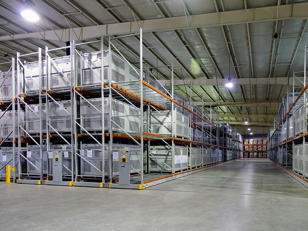 Fort Bragg parachute storage on industrial mobile shelving system