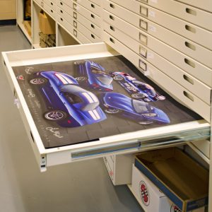National Corvette Museum uses archival, flat file cabinets