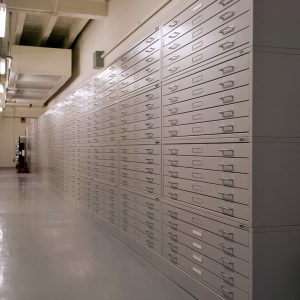 OSU cartoon library makes great use of archival, flat file cabinets