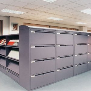 lateral filing cabinets used as room divider