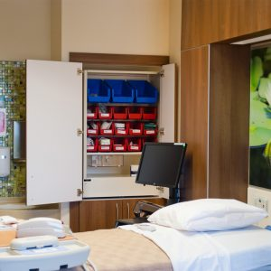 Nurse server, patient supply chain allows a combination of drawers and bins