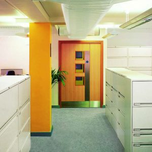 Lateral filing cabinets in office setting