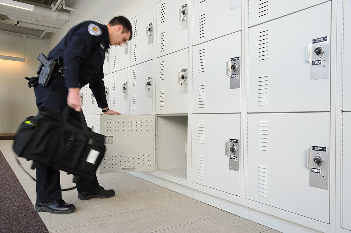 Personal locker storage for gear bags