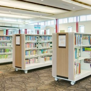 Cantilever Library Shelving with Wheels
