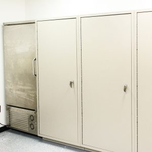 Refrigerated lockers mounted with other storage solutions