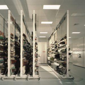 Mobile art rack storage at Mystic Seaport Museum
