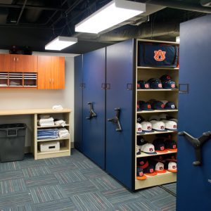 Baseball storage on Mechanical-Assist Mobile Shelving System at Auburn University