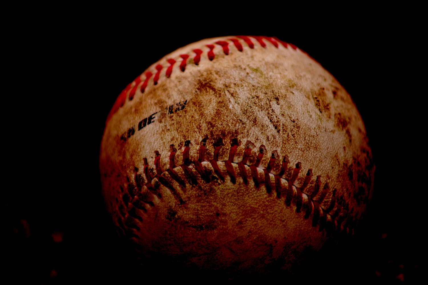 Baseball with dirt markings and stitches