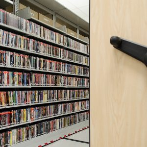 DVD/CD media storage library Mechanical-Assist Mobile Shelving System