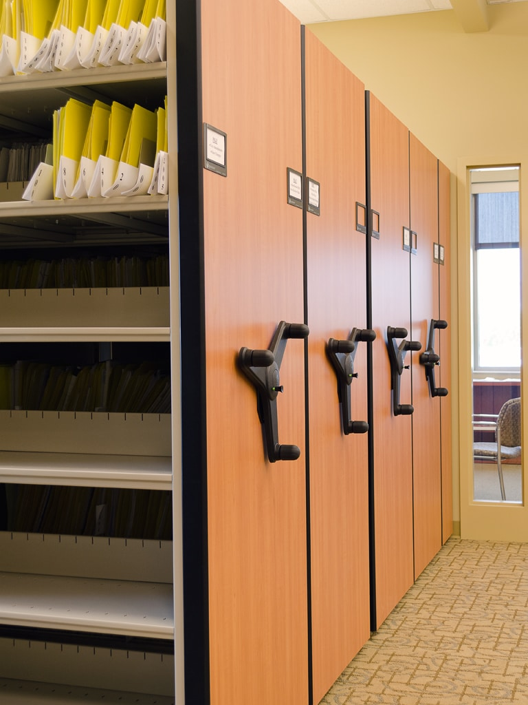Corporate files on Mechanical-Assist Mobile Shelving System