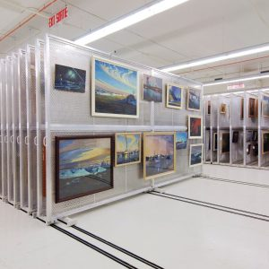 Mobile art rack systems at the Canadian War Museum