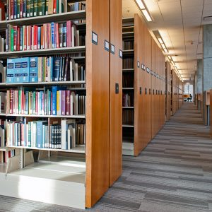 Law Library with books on mobile shelving