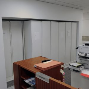 Closed doors protect legal file in high-density lateral sliding shelving