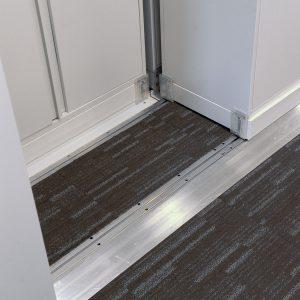 close up of bi-file lateral shelving rail