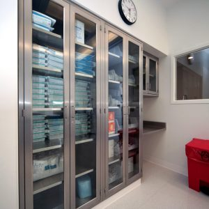 Hospital Supply Storage in Stainless Steel Cabinets
