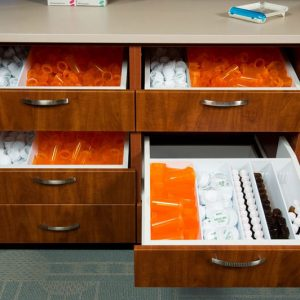 Laminate cabinets provide organization