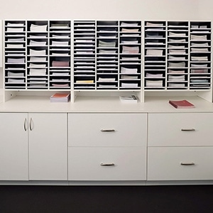 Organization provided by laminate cabinets