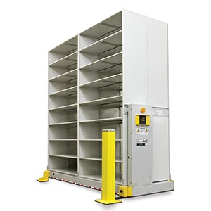 ActivRAC powered mobilized storage system maximizes storage capacity by recovering idle aisle space