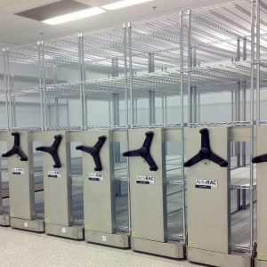 Stainless steel industrial mobile shelving system in cooler