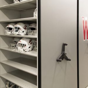 Football equipment room design ideas on Mechanical-Assist Mobile Shelving System