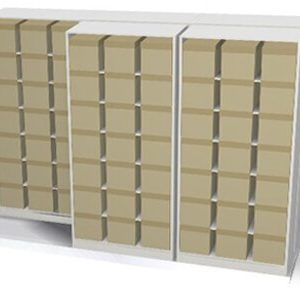 high-density lateral sliding shelving illustration of boxed storage