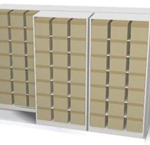 high-density lateral sliding shelving illustration of boxed storage