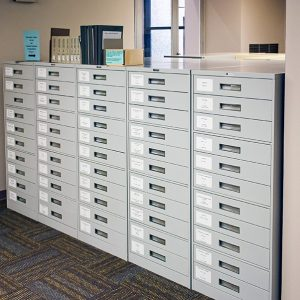 Row of Media Storage Cabinets