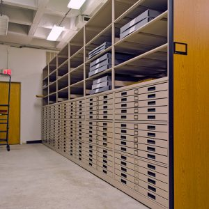 Media Storage Cabinets in Shelving System