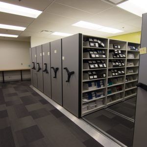 Finance records stored on low profile mobile shelving system