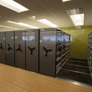 Low profile mobile shelving unit at Financial firm