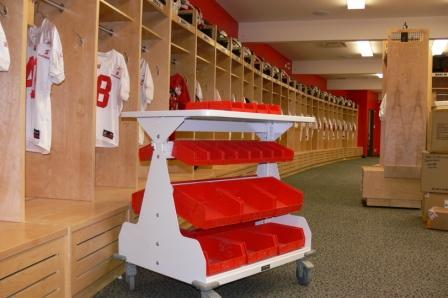 Bin shelving athletic equipment storage