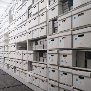 Archive Boxes Stored on Shelving