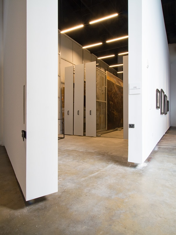 High-density art rack at the Bo Bartlett Center