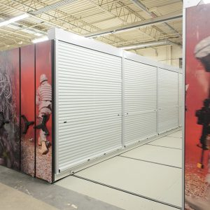 Tambour doors lock to secure and protect gear for the military
