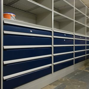 Modular drawer cabinets store military gear