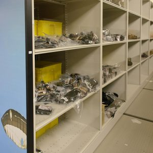Heavy-duty open shelving storing military supplies