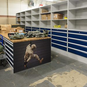 Custom cabinets are used to organize and store Air Force gear
