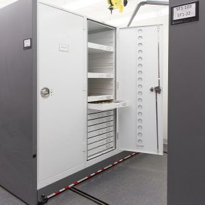 Mobile museum cabinet storage systems