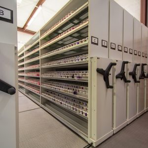 Ink samples stored on high-density shelving