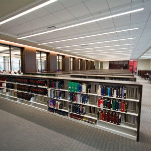 Shelving and study space in law school library