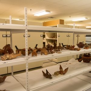 Museum collections stored on wide-span shelving