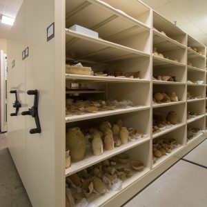 Storage shelving for museum collections on mobile carriages