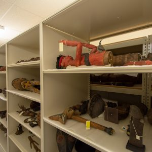 Open shelving provides multiple levels of museum storage