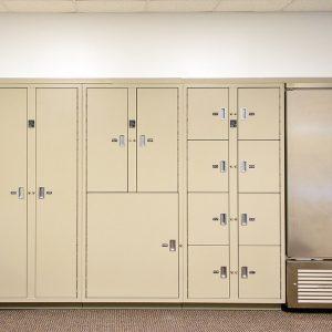 Evidence lockers and refrigerator