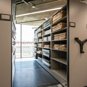 Movable aisles allow for more storage at museum