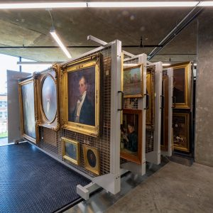 Art storage racks save space for historical society