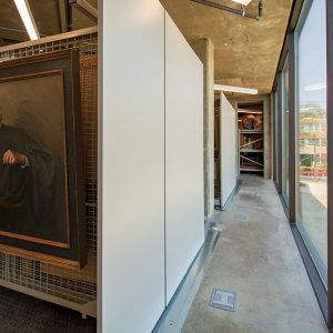 Art and museum archives stored on shelving